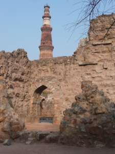 Qutub minar, a sandstone monument build in the 13th century