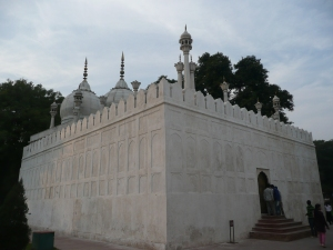 The Mughals were a Muslim empire so they have a mosque prominently inside. Since the fort complex faces toward Lahore and they didn't want to throw off the geometry, the decision was made not to face this mosque toward Mecca as would be Islamic custom.